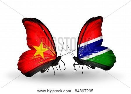 Two Butterflies With Flags On Wings As Symbol Of Relations Vietnam And Gambia