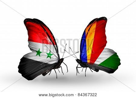 Two Butterflies With Flags On Wings As Symbol Of Relations Syria And Seychelles