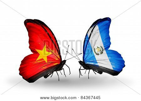 Two Butterflies With Flags On Wings As Symbol Of Relations Vietnam And Guatemala
