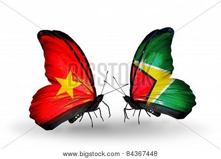 Two Butterflies With Flags On Wings As Symbol Of Relations Vietnam And Guyana