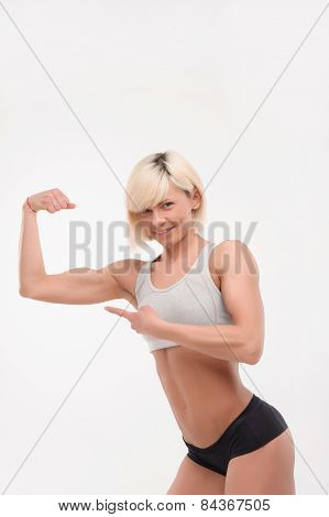 pretty fitness lady smiling on the camera