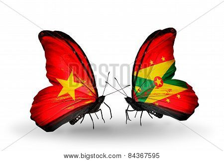 Two Butterflies With Flags On Wings As Symbol Of Relations Vietnam And Grenada