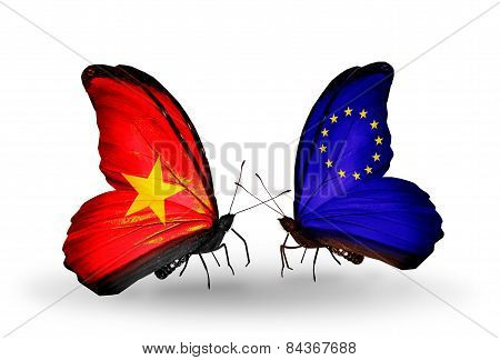 Two Butterflies With Flags On Wings As Symbol Of Relations Vietnam And European Union