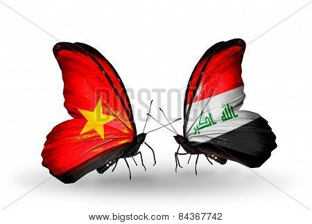 Two Butterflies With Flags On Wings As Symbol Of Relations Vietnam And  Iraq