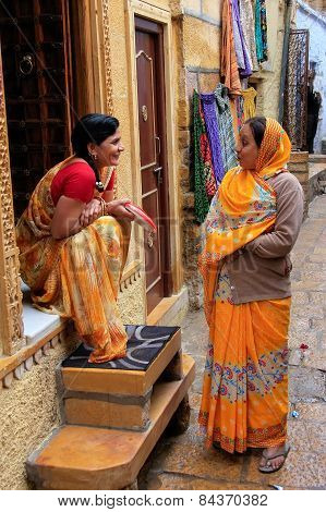 Jaisalmer, India - February 14: Unidentified Women Talk In The Street Of Jaislamer Fort On February