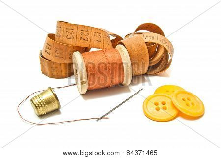 Spool Of Thread, Meter And Buttons