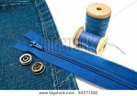 Denim With Zipper And Buttons