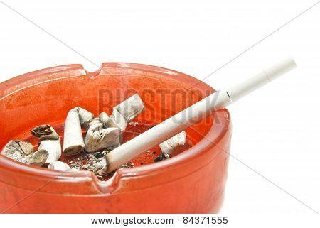 Single Cigarette In Glass Ashtray