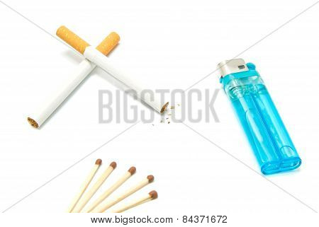 Plastic Lighter, Two Cigarettes And Matches
