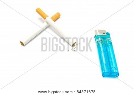 Blue Lighter And Two Cigarettes