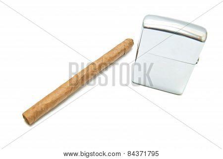Cigar And Lighter On White