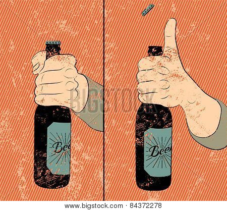 Vintage grunge style beer poster. Humorous poster instruction for opening the a bottle of beer.  Han