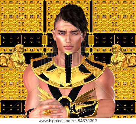 Pharaoh in Egyptian modern digital art fantasy style