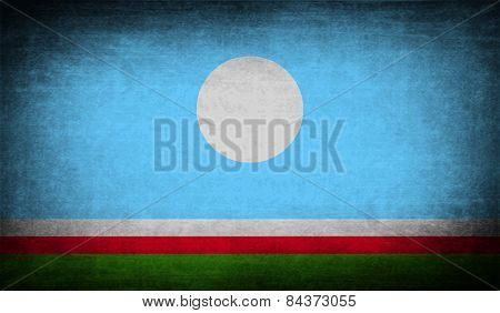 Flag Of  Sakha Yakutia Republic, Russia With Old Texture. Vector