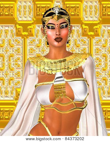 Egyptian digital art fantasy image of a goddess in white