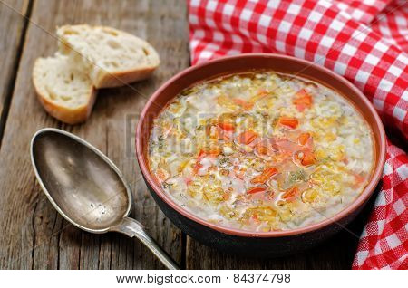 Chicken Soup With Rice And Peppers