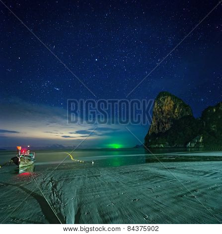 Night tropical landscape. Thailand