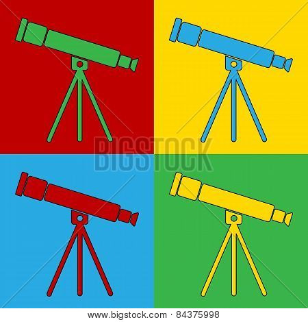Pop Art Telescope Symbol Icons.