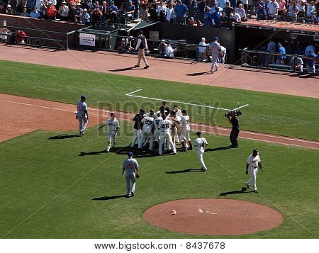 Giants Andres Torres Gets Mobbed By Teammates After Hitting Game Winning Single