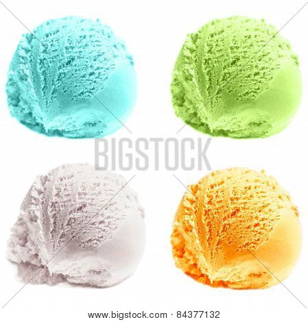 Four Isolated Scoops Of Ice Cream. Mixed Scoops Of Green Tea, Mint, ,  Vanilla, Mango Ice-cream Ball