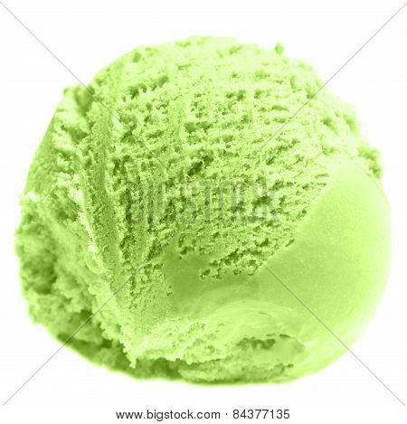 Scoop Of Pistachio Ice Cream  Close Up. Ice Cream Ball Macro.