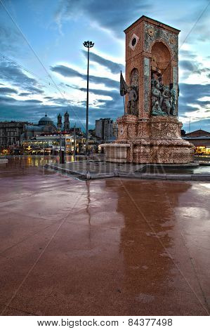 Hdr View Of Republic Monument In The Evening At Taksim Square In Istanbul