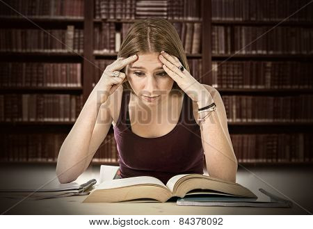 Tired College Student Girl Studying For University Exam Worried Overwhelmed