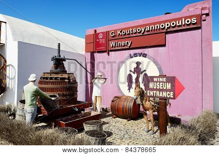 Vothonas, Thira, Greece - May 19:  The Decoration Of  Koutsoyannopoulos Wine Museum On May 19, 2014
