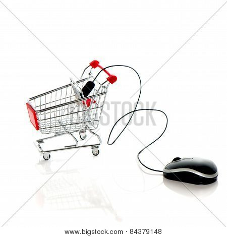Computer Mouse And Shopping Cart. Online Market