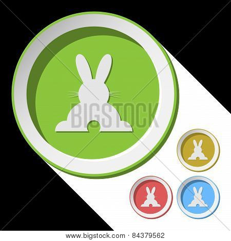 Color Icons With Back Easter Bunny