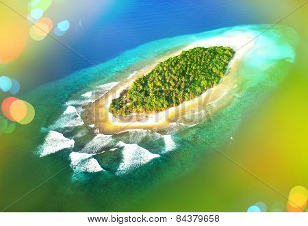 Tropical Island In Turquoise Blue Water. Maldives Landscape