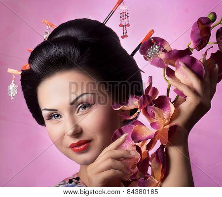 Portrait of a Japanese geisha woman