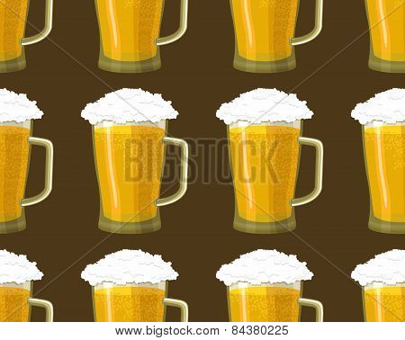 Seamless background tankards foamy glass of beer