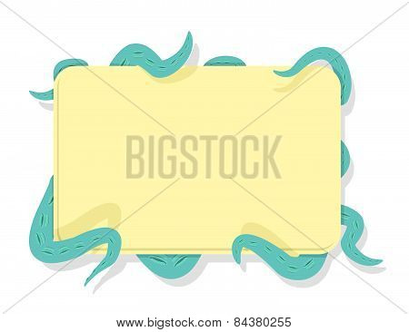 tentacles  Octopus hold frame for text. Vector illustration