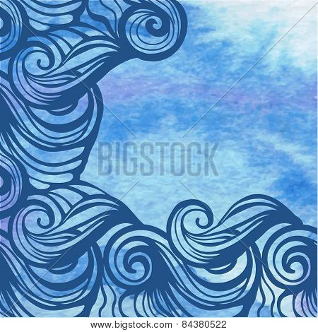 Watercolor Aqua Vector Background-abstract Hand Drawn Painting.
