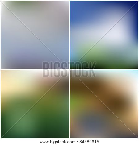 Vector set of nature blurred unfocused backgrounds