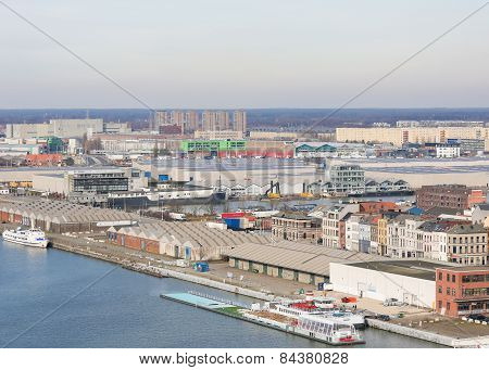 Warehouses By The River Scheldt In The Port Of Antwerp, Belgium
