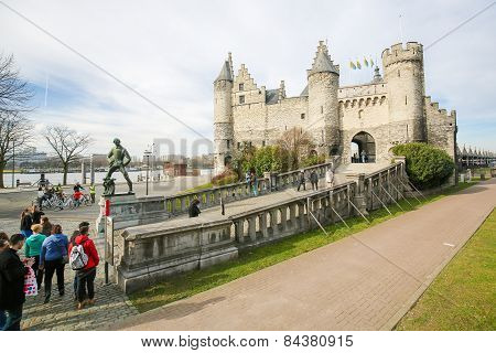 Het Steen, The Oldest Building In Antwerp, Belgium