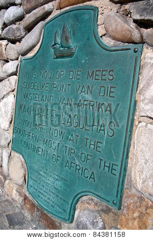 Cape Auglhas Plaque