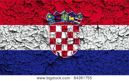 Flag Of Croatia With Old Texture. Vector