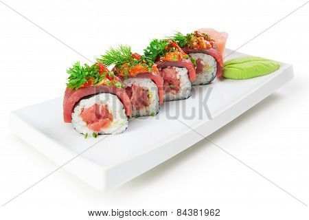 Asian Food Sushi Dish. On A White Background, Close-up.
