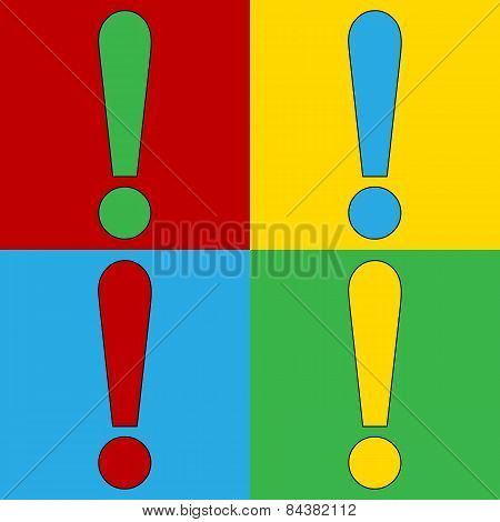 Pop Art Exclamation Mark Symbol Icons.