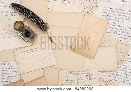 Old Letters, Vintage Postcards And Antique Feather Pen. Mock Up