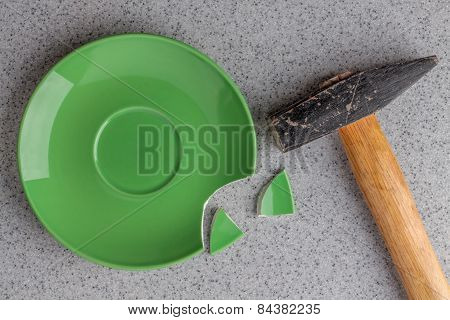 Broken Green Plate