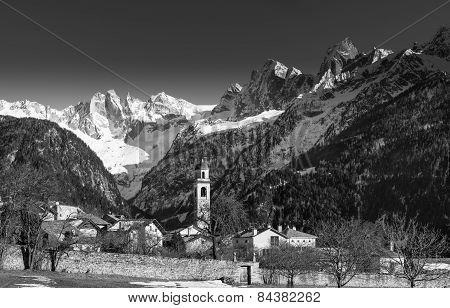 Alpine Village Of Soglio Under The