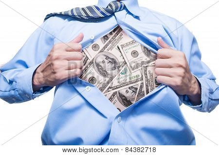 businessman showing a Dollar in his shirt
