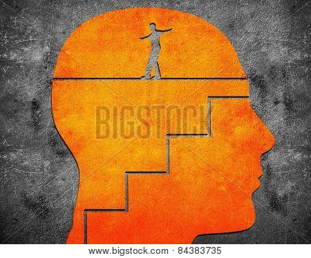 Head With Staircase And Tightrope Walker Digital Illustration