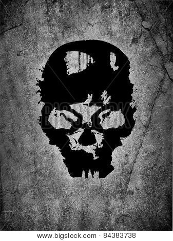 Black Skull And Grey Background