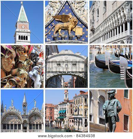 Venice landmarks collage