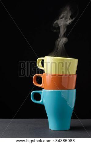 Three Colorful Mug With Steam